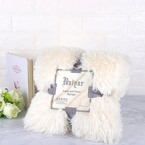 Cream Fluffy Velvet Fleece Throw Blanket - Cot to Queen Size