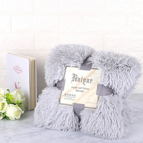 Grey Fluffy Velvet Fleece Throw Blanket - Cot to Queen Size