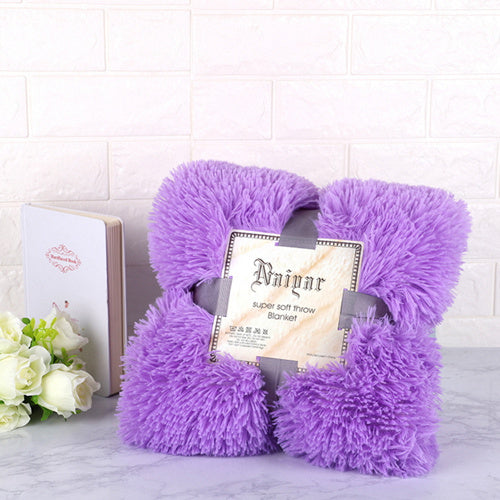 Purple Fluffy Velvet Fleece Throw Blanket - Cot to Queen Size