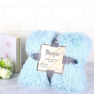 Soft Blue Fluffy Velvet Fleece Throw Blanket - Cot to Queen Size