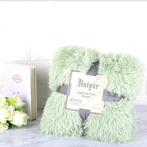 Soft Green Fluffy Velvet Fleece Throw Blanket - Cot to Queen Size