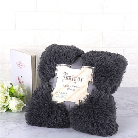 Charcoal Fluffy Velvet Fleece Throw Blanket - Cot to Queen Size