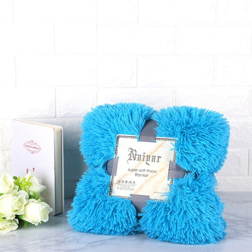 Turquoise Fluffy Velvet Fleece Throw Blanket - Cot to Queen Size