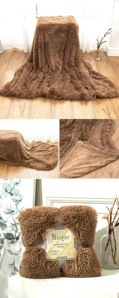 Chocolate Fluffy Velvet Fleece Throw Blanket - Cot to Queen Size