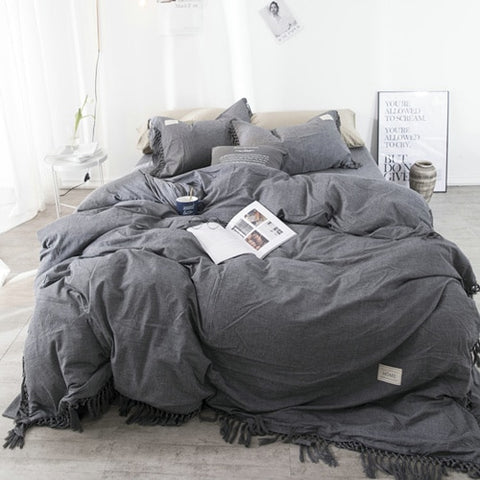Tassels Bedding Set - 100% Washed Cotton - Charcoal