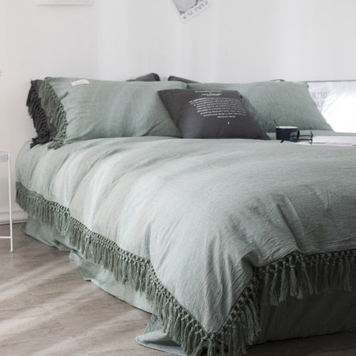 Tassels Bedding Set - 100% Washed Cotton - Green Earth