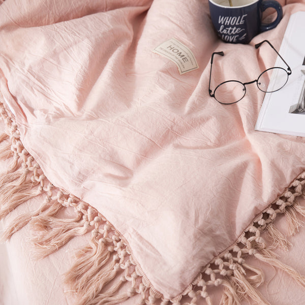 Tassels Bedding Set - 100% Washed Cotton - Soft Pink