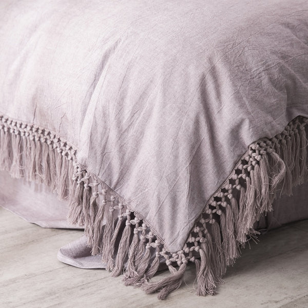 Tassels Bedding Set - 100% Washed Cotton - Dusty Rose
