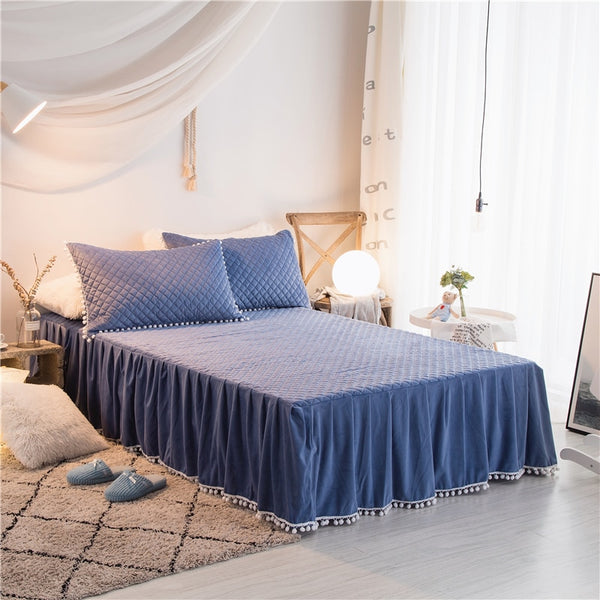 PomPom Fluffy Mink Fleece Bed Set - Blue