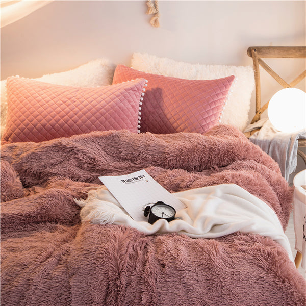 PomPom Fluffy Mink Fleece Bed Set - Dust Pink