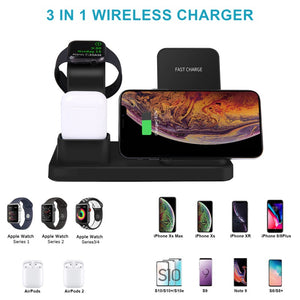 New 3 In 1 Wireless Charging Station Compatible With Apple Watch Series 4/3/2/1 & AirPods 10W Qi Fast Wireless Charger Stand