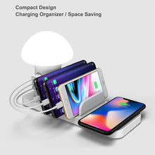Load image into Gallery viewer, Quick Charge 3.0 Multiple USB Phone Charger Mushroom Night Lamp Charging Station Organizer For Tablet For Cellphone