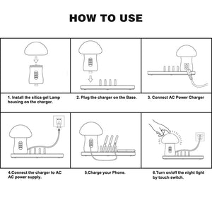 Quick Charge 3.0 Multiple USB Phone Charger Mushroom Night Lamp Charging Station Organizer For Tablet For Cellphone