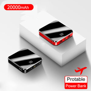 20000mAh Portable Mini Power Bank Mirror Screen Digital Disply Poverbank External Battery Pack Powerbank For Smart Mobile Phone