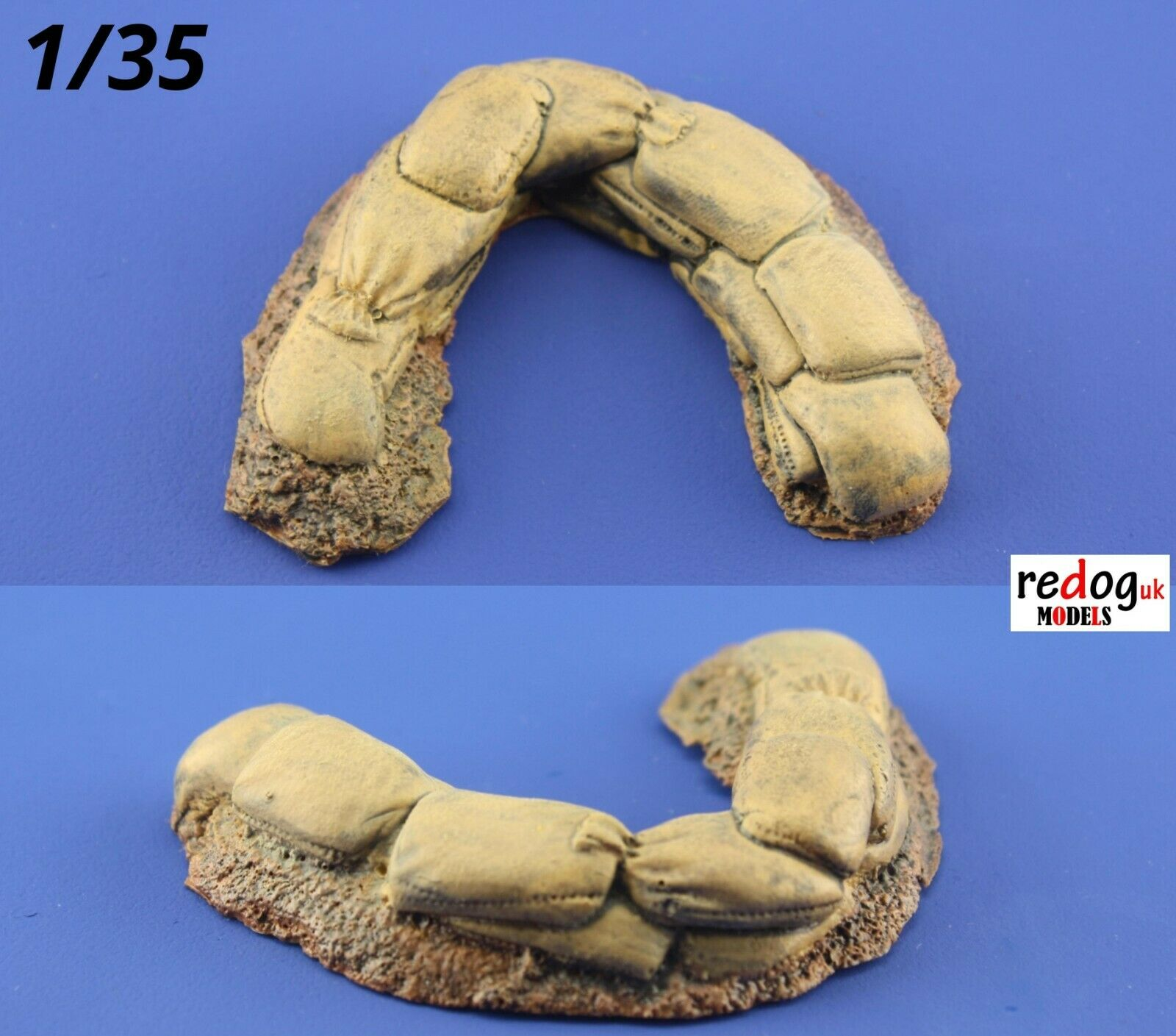1/35 Redog Resin Military Scale Model Sand Bag Wall Machine Gun Emplacement - redoguk