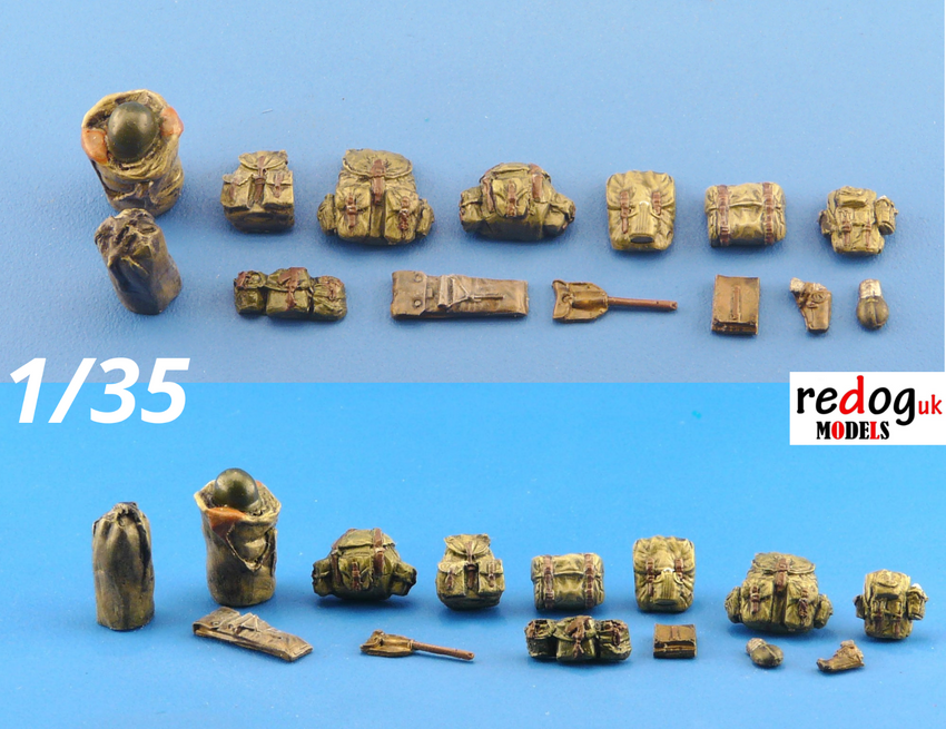 1/35 Back Sacks Military Accoutrements Scale Modelling Resin Stowage Kit 10 - redoguk
