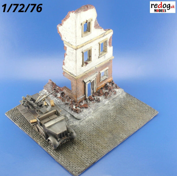 1/72 Ruined Building Corner Display Base for Military Scale Model Tanks & Vehicles D19 - redoguk