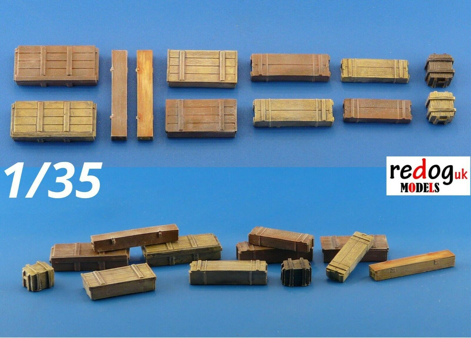 1/35 Allied and Germans Ammunition Crates Scale Modeling Military Stowage - 12 pieces B5 - redoguk