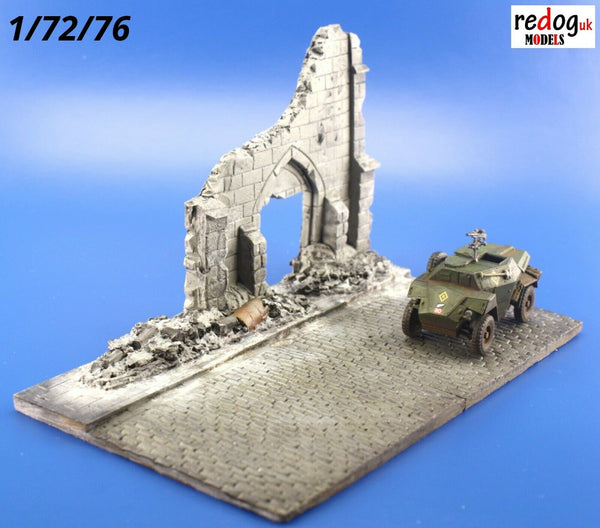 Redog 1/72/76 Ruined Church Street Scale Model Display Base/Small Diorama D16 - redoguk
