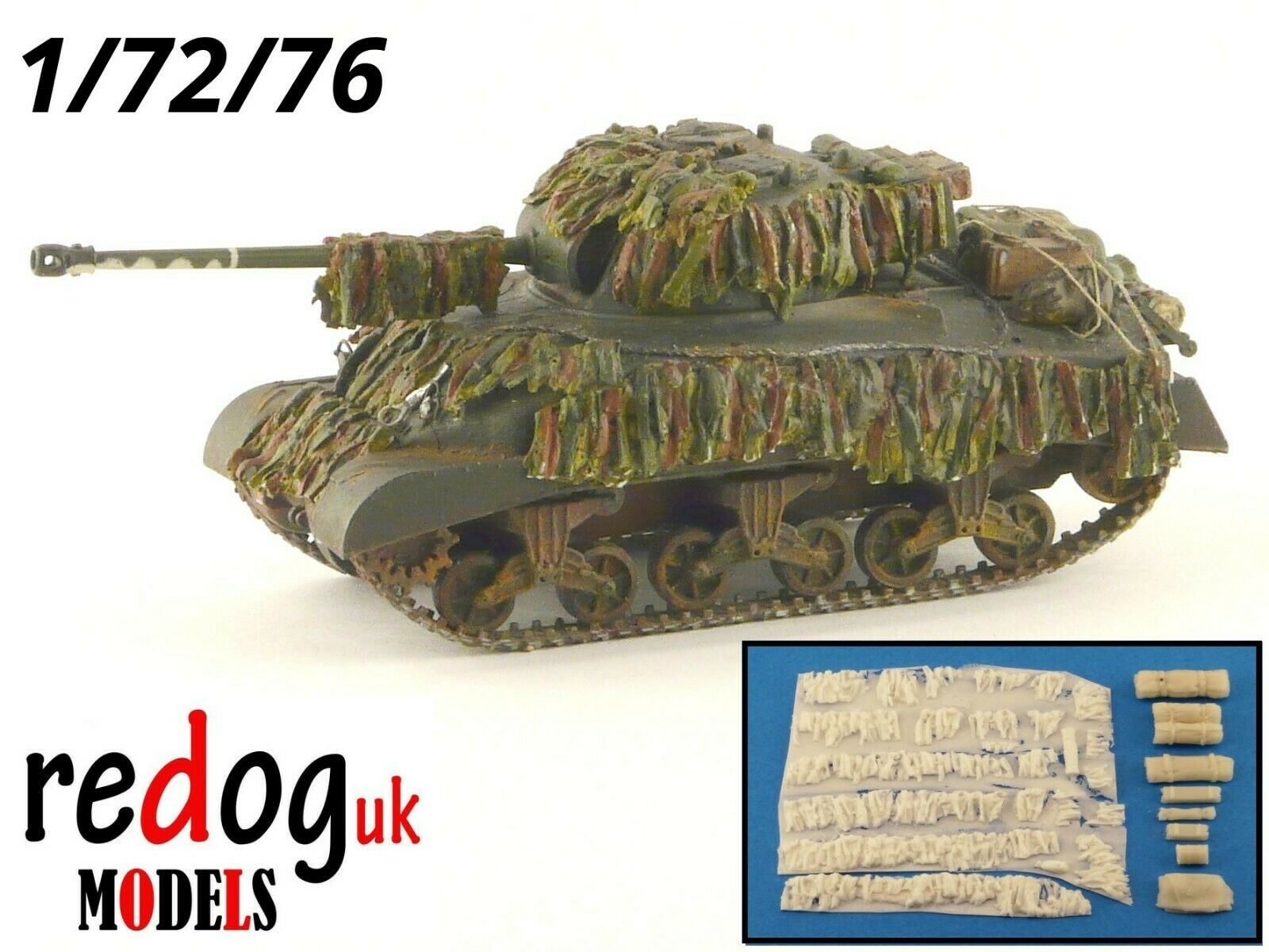 1:72 Sherman Firefly MKV Scale Model Stowage and Hessian Camouflage Strips Kit S4 - redoguk