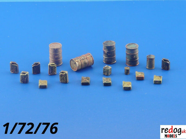1:72 - Barrels and Jerry Cans for Scale Moel Stowage Cargo kit Diorama - redoguk
