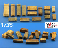 1/35 Wooden Boxes & Crates Cargo Set -13 Pieces Scale Modeling Military Stowage 1 - redoguk