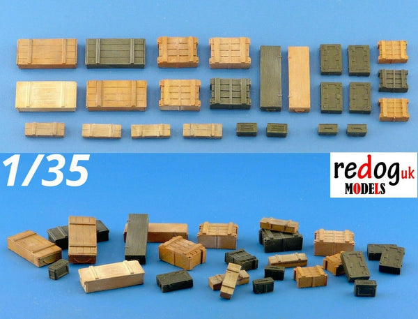 1/35 Boxes and Crates Mix -25 Pieces Military Scale Model Stowage Kit 3 - redoguk