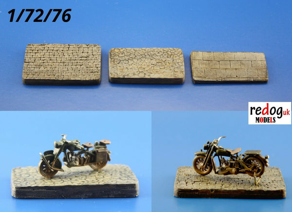 Redog 1/72 3x Small Display Bases for Military Scale Model Motorcycles /d7