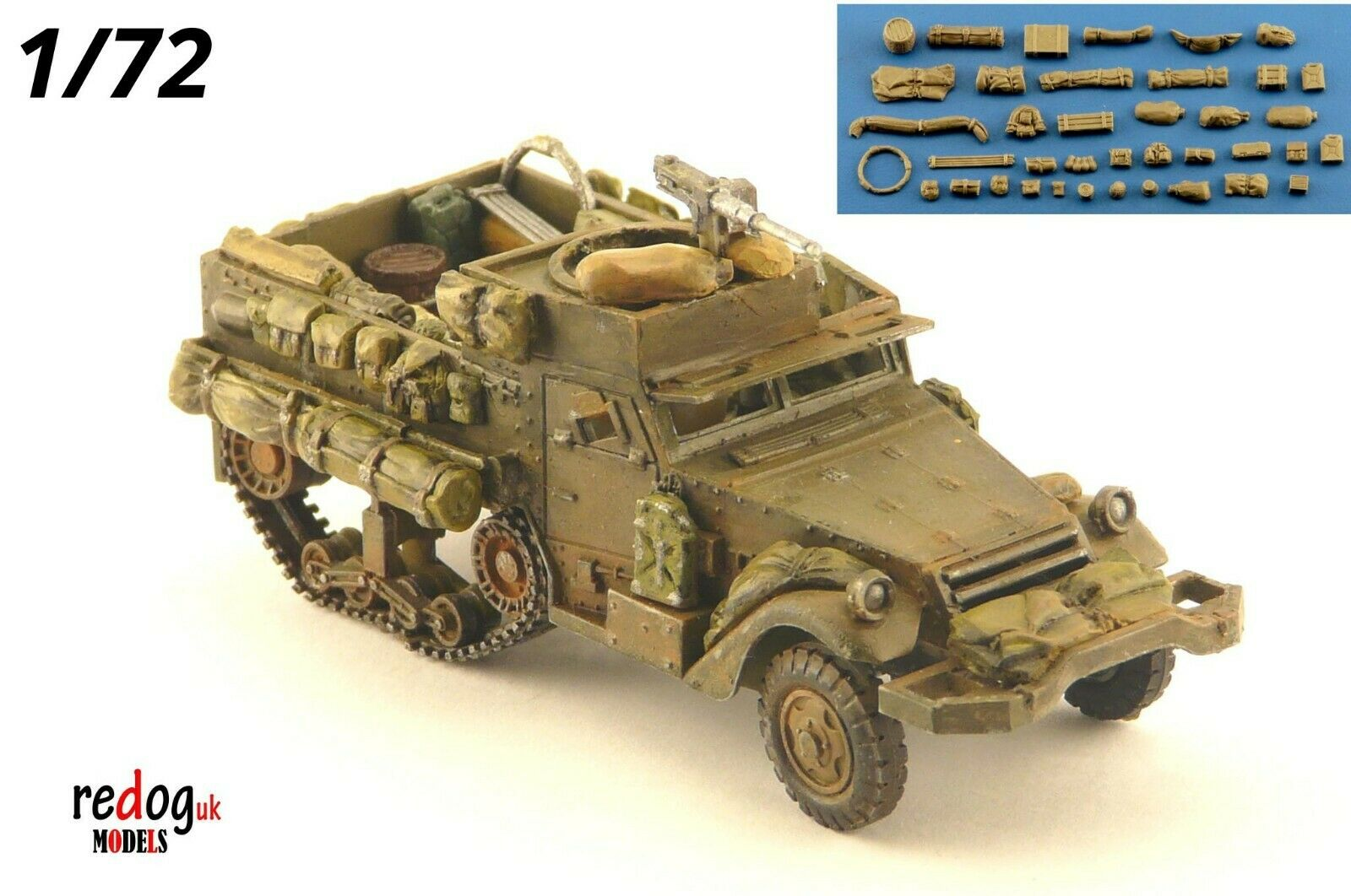1/72 M4 US Half Track Overloaded Military Scale Model Stowage Kit - redoguk