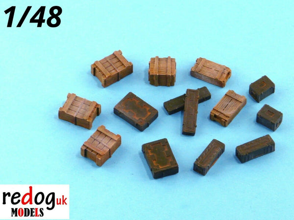 Redog 1:48  Boxes & Crates Mix Military Scale Modelling Stowage Diorama Accessorises 1 - redoguk
