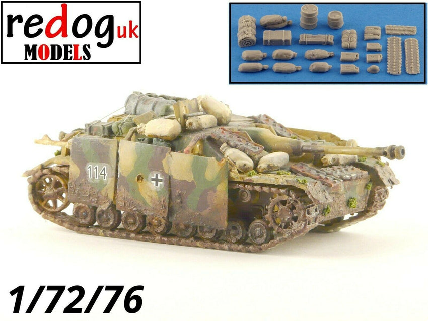 1:72 or 1:76 German Stug IV Tank Military Scale Model Stowage Kit Accessories - redoguk