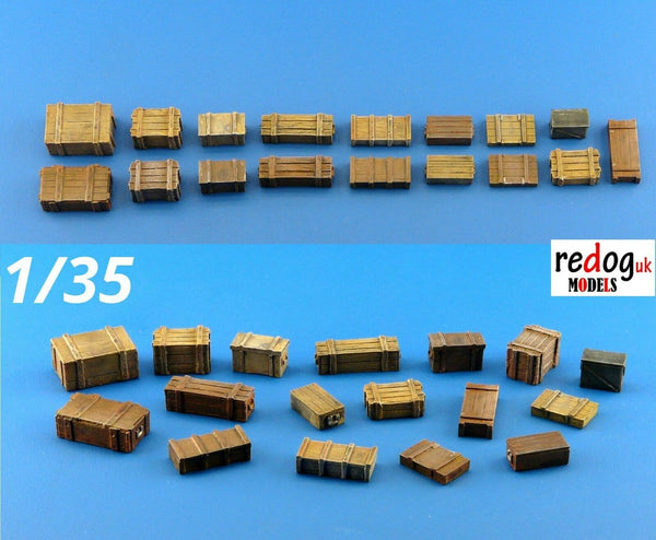 1/35 Boxes and Crates Mix - Military Scale Model Stowage Diorama Accessories Kit 2 - redoguk