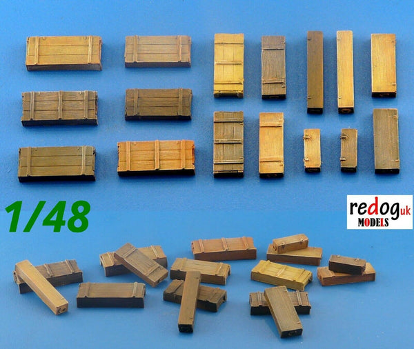 Redog 1:48  Boxes & Crates Mix Military Scale Modelling Stowage Diorama Accessorises 2 - redoguk