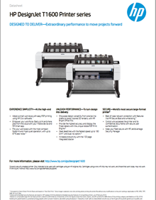 HP DesignJet T1600 Printer Spec Sheet Image