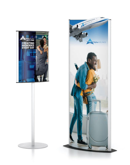 CONVEX SIGNHOLDER, 22X28 SINGLE TIER, SILVER | Healtchare and Government Printer Bundle