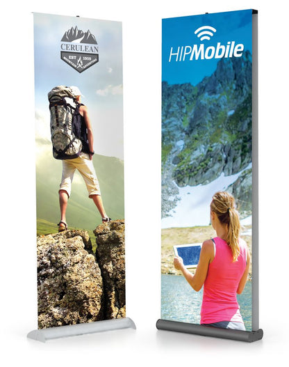 RETRACTABLE BANNER STAND 33 inch SINGLE SIDED, BLACK W/CARRY BAG | Healtchare and Government Printer Bundle