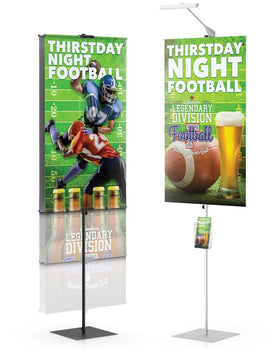 Promo Banner Stand, single sided with matte black finish | Healtchare, Government, and Retail Printer Bundle