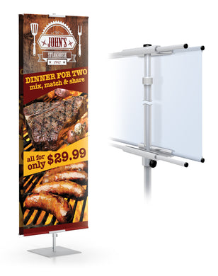 Classic Banner Stand 36 Wide Travel Base | Silver