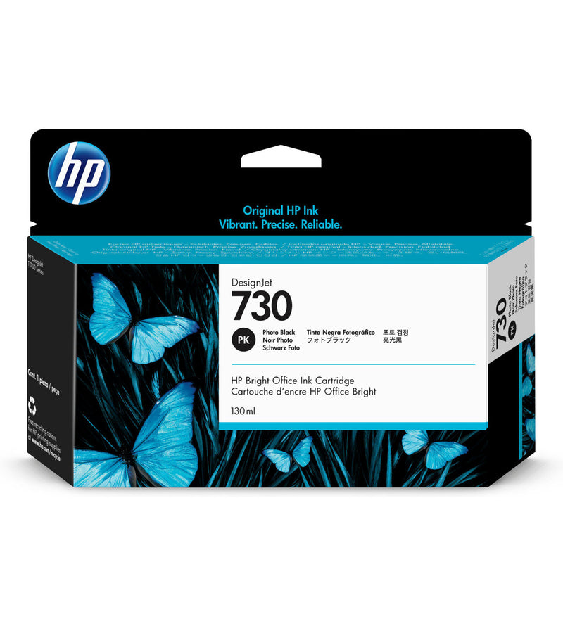 HP 730 130-ml Photo Black DesignJet Ink Cartridge | P2V67A