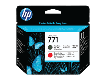 HP 771A Matte Black and Chromatic Red Designjet Printhead | CE017A