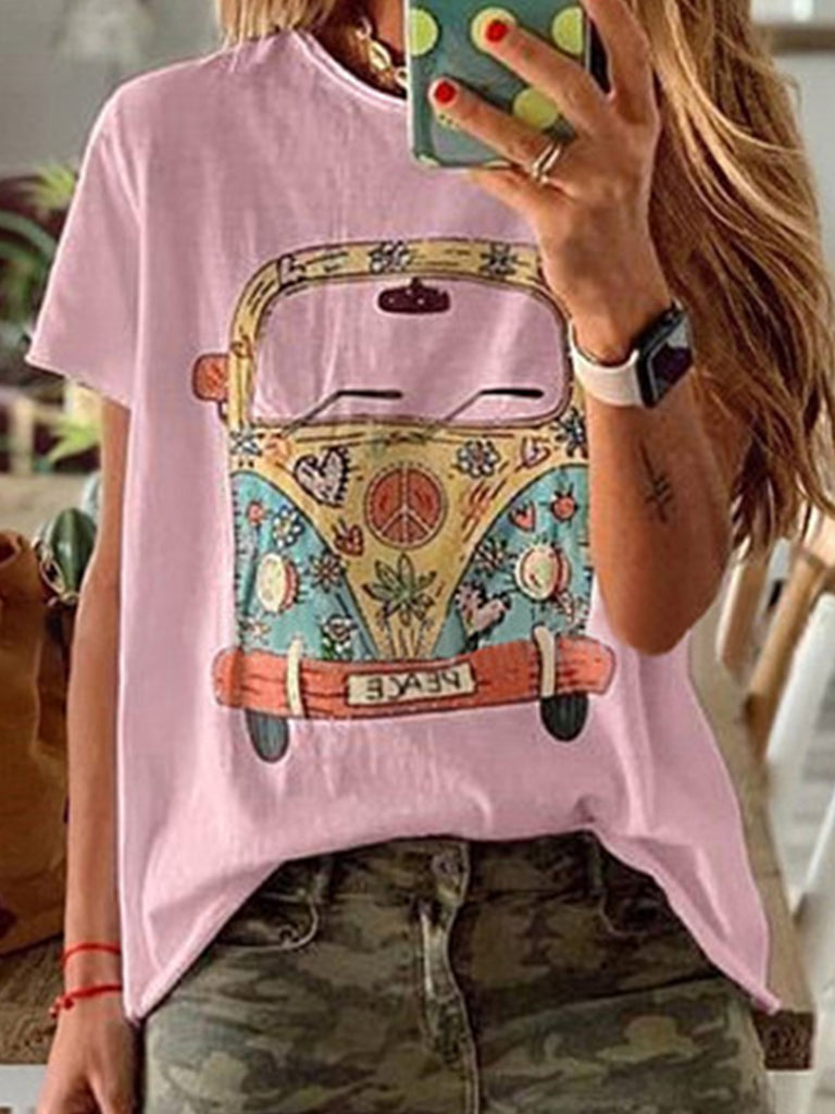 Women Printed Casual Crew Neck Short Sleeve Tops