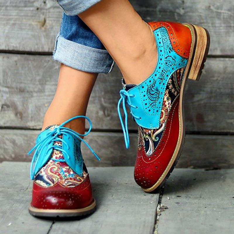 Women Casual Retro Pu Hollow-out Color-Blocking Daily Loafers
