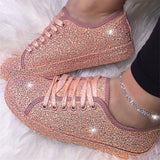 Women Fashion Bling-bling Lace Up Platform Sneakers