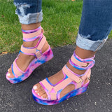 Women Simple Multicolor Strap Open Toe Velcro Creepers Platform Sandals