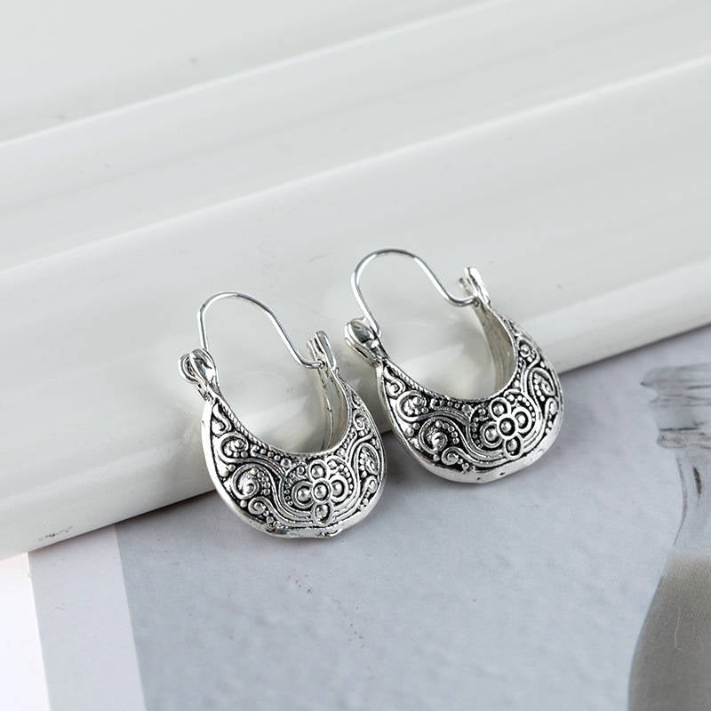 Vintage Alloy Round Shape Sliver Boat Earrings