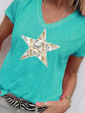 Women Star Printed V-neck Casual Short Sleeve T-shirts