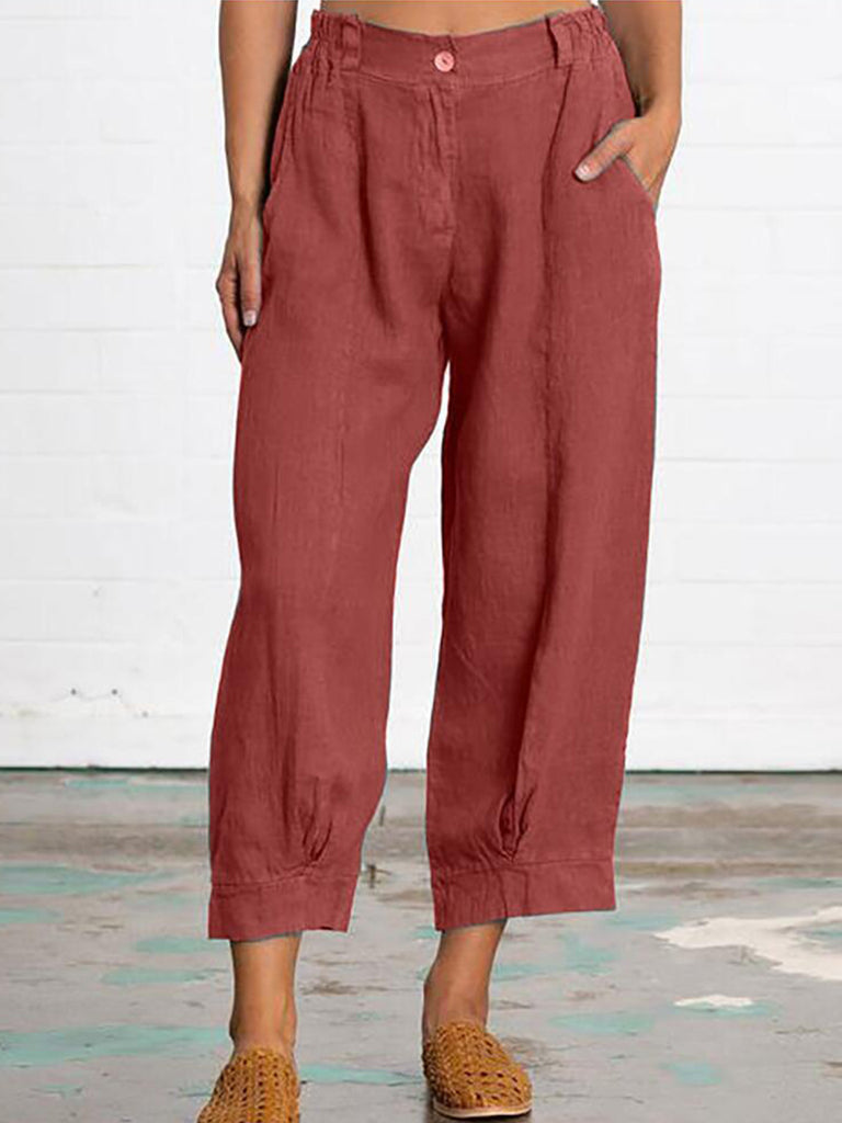 Casual Women Solid Fashion Cropped Pants