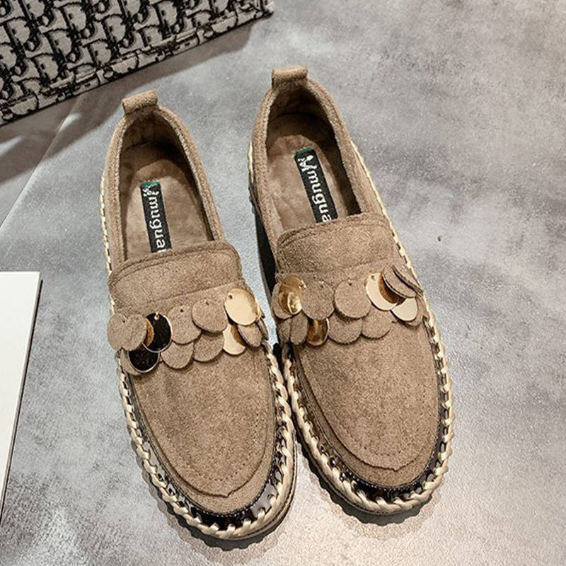Women Trendy Sequin Slip-On Rhinestones Platform Loafers