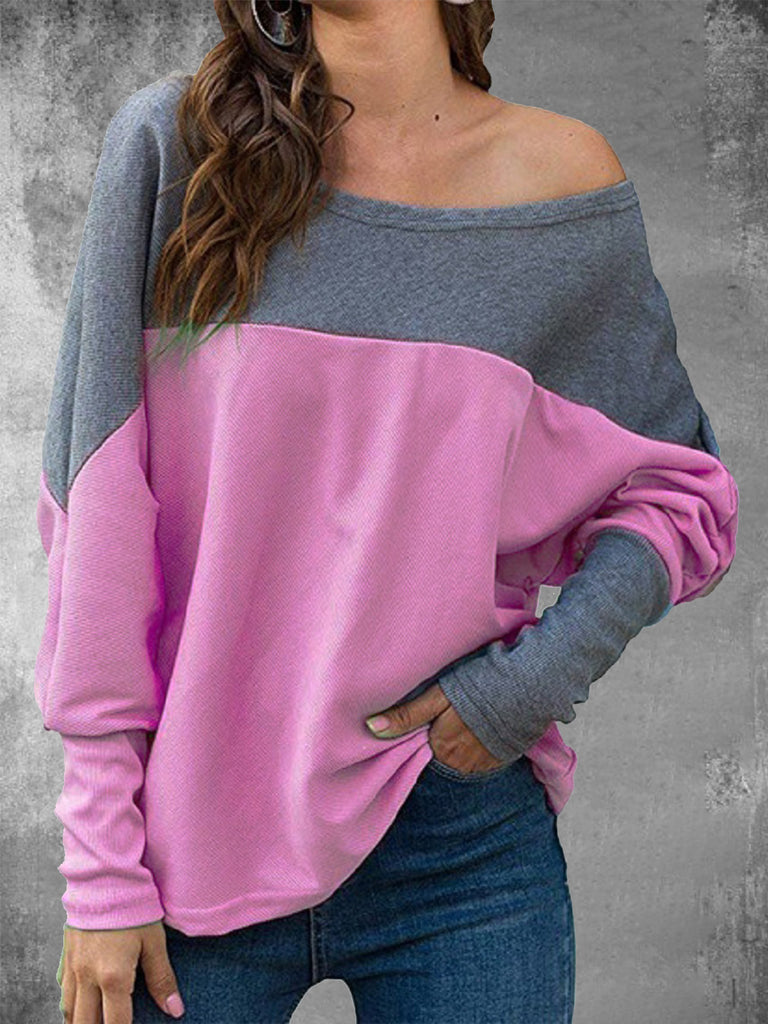 Color-block Batwing Long Sleeve Polyester Crew Neck T-Shirts for Women
