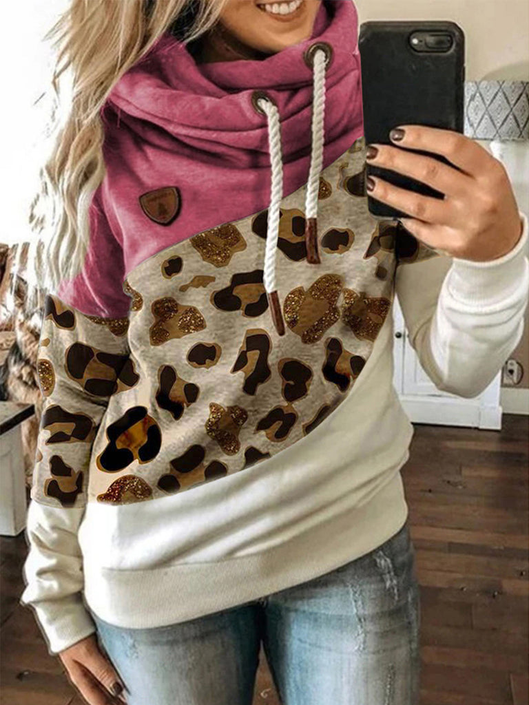 Leopard Print Color-block Women  Drawstring Hooded Sweatshirts